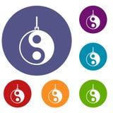 Yin Yang symbol icons set Royalty Free Stock Photography