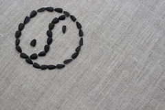Yin yang symbol laid out from sunflower seeds. Yin yang symbol inlaid with sunflower seeds on a linen cloth Stock Photography