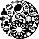 Yin Yang symbol made from Zen icons Stock Image
