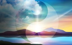 Free Yin Yang Symbol Over Day And Night, Sunset And Moon Wallpaper Stock Photos - 208133903
