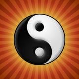 Yin yang symbol på röd strålbakgrund Arkivbilder
