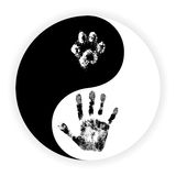 Yin Yang symbol with paw and hand vector Stock Photo