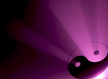 Yin Yang symbol purple flare corner. The Yin Yang sign with powerful purple light halo. Extended flares for background cropping vector illustration