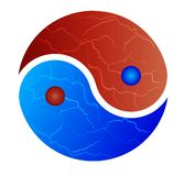 Yin-Yang symbol red and blue fire Royalty Free Stock Photography