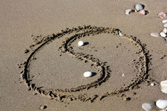 Yin and Yang. Symbol in the sand Royalty Free Stock Photos