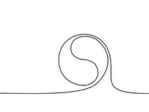 Yin yang symbol sign. Continuous line drawing icon. Vector illustration Stock Photo