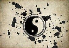 Yin yang symbol splatter on grunge background. Vintage grunge Royalty Free Stock Images