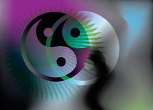 Yin Yang symbol and star, Royalty Free Stock Image