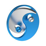 Yin Yang symbol Tai Chi metallic sign. Isolated Yin Yang symbol with metal texture to indicate positive & negative energy. Oriental sign of balance opposite Stock Photography