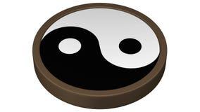 Yin Yang Symbol tournent autour rendu 3d banque de vidéos