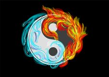 Yin and Yang. Symbol with water and fire Royalty Free Stock Photos
