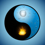 Yin Yang symbol with water and fire vector illustration