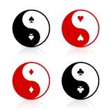 Yin-Yang symbols with card suits. Yin-Yang symbol set with card suits. Card game fortune energy. Gambling chance and the power of luck Stock Photography