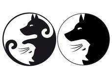 Yin Yang symbolu kot i pies, wektor Zdjęcie Stock