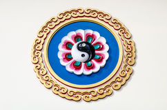 Yin Yang symbolvägg royaltyfri foto