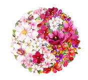 Yin yang symbool met bloemen watercolor Royalty-vrije Stock Foto's