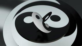 Yin yang symbool met cyclische omwenteling stock video