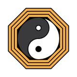 Yin yang symbool van harmonie en saldo Vlak stijlpictogram Zwarte op achtergrondvector vector illustratie