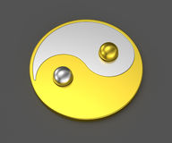Yin Yang Tai Chi silver mix gold sign Royalty Free Stock Photos