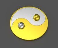 Yin Yang Tai Chi silver mix gold sign Royalty Free Stock Photos