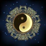 Yin and yang Tao mandala symbol. Round Ornament Pattern. Vector. Illustration. Paisley background. Vintage decorative oriental symbol of harmony, balance Stock Photos