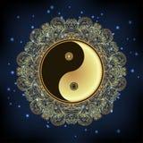 Yin and yang Tao mandala symbol. Round Ornament Pattern. Vector. Illustration. Paisley background. Vintage decorative oriental symbol of harmony, balance Royalty Free Stock Images