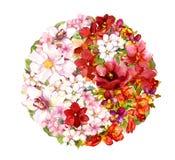 Yin yang tecken med blommor Blom- formyinyang vattenfärg royaltyfri bild