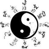 Yin Yang Tierkreis Stockfotos