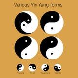 Yin Yang various types and styles, royalty free illustration