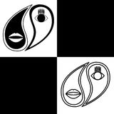Yin Yang. Vector logo in the shape of yin-yang with a stylized image of the eyes and lips. Monochrome. Black and white Stock Photography