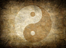 Yin Yang. Very old Yin Yang symbol on dirty paper Royalty Free Stock Images