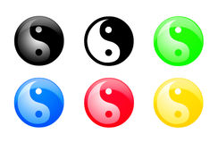 Yin and Yang web buttons. A b&w image of Yin and Yang and 5 different color executions of web buttons of Yin and Yang symbol: black, green, red, blue and yellow royalty free illustration