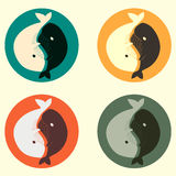 Yin and yang whale vector set Royalty Free Stock Photos