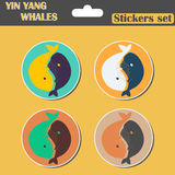 Yin Yang Whales set stickers Stock Photos