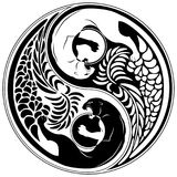 Yin Yang Wild Cat Black e stile bianco del tatuaggio Fotografia Stock