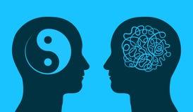 Yin yang y símbolo del caos en cabezas de pensamiento libre illustration