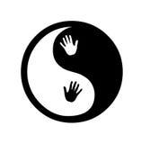 Yin yang zen med händer stock illustrationer