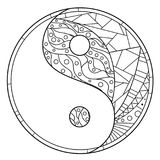 Yin and Yang. Zentangle. Royalty Free Stock Photo