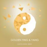 Ying dourado e de yang conceito desing poligonal baixo Imagens de Stock Royalty Free