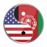 Ying Yan. Symbol with the American and Afghan flags. Vector File Available Royalty Free Stock Photo