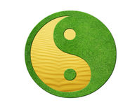 Ying yang. 2 Elements in balance, desert and gras Royalty Free Stock Photography