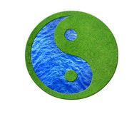 Ying yang. 2 Elements in balance, desert and gras Royalty Free Stock Image