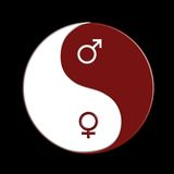 Ying-yang. Red and white ying-yang sign with male and female symbols over black background Stock Photography