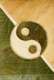 Ying-Yang. Symbol in dried leaves Royalty Free Stock Image