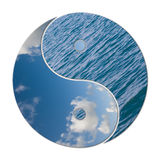 Ying Yang 2 Elements. In balance, sky and water Stock Photos