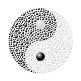 Ying Yang. Made from black and white spheres on white background Royalty Free Stock Image