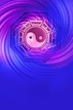 Ying yang. I Ching and yin yang symbol over blue purple whirl Royalty Free Stock Photography