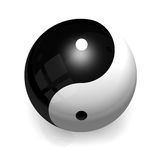 Ying Yang Ball. A Yin Yang ceramic ball with smooth reflections on pure white background. Graphic are centered on the ball to increase the harmony sensation (3D Royalty Free Stock Photos