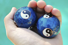 Ying yang balls. In hand Stock Image