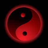 Ying yang burn. Bright red ying yang logo with outer glow Stock Photography